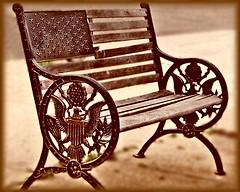 """Patriotic Bench"" (my4otos) Tags: brown art sepia photoshop bench creativity design interestingness patriotic nina blueribbonwinner goldenphotographer thatsbostin"