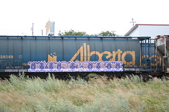 Impeach (covered filth) Tags: canada art train painting graffiti artwork union north canadian american lincoln alb abe amfm brigade impeach freights wheatie grainer
