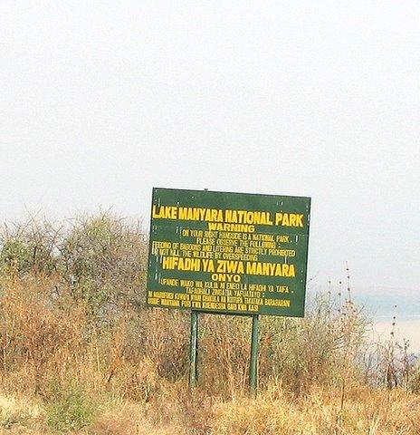 Lake Manyara Nat'l Park sign in english and Swahili