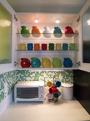 New Fiesta Display (supershoppertoo) Tags: white ikea kitchen modern tile colorful bright mosaic retro remodel fiestaware adel backsplash adelwhite