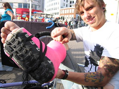 Owen's New Shoe (Clive Andrews) Tags: pink broken bike tattoo shoe andrews tattoos cast owen ankle fracture clive tyre cliveandrews cliveandrews2007allrightsreserved img8571jpg