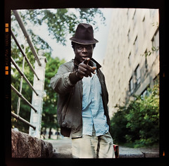 osoitus - pointing (sikaheimo) Tags: man hat eyes d finger medium format pointing gaze yashica yashicad