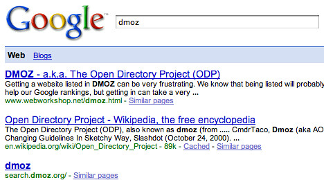 dmoz missing from google