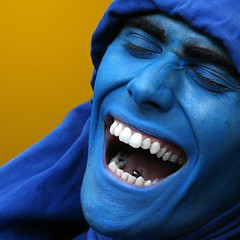 Kind of Blue (Anima Fotografie) Tags: barcelona blue face laughing spain catalonia espana catalunya steiner62 scoreme42 anawesomeshot colorphotoaward excapture