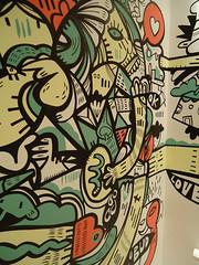 Arte na parede de um lavabo de 28 andares(Detalhe)
