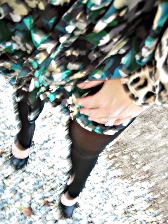 stirrup tights+calvin klein heels+silk dress with leopard blouse under+cynthia steffe silk dress+rocks