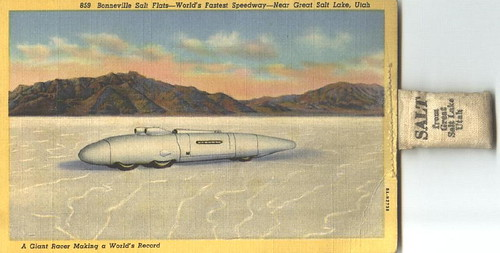Oversized - Postcard of  Bonneville Salt Flats with Salt!