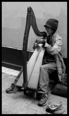 Making music (tad2106 - Trudie Davidson Photography) Tags: ireland bw music dublin blackwhite eire busker harp busking beginnerstreetphotography 7daysofshooting solitarysunday week2music