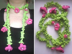 Virkad blomsjal! (TM - the crocheteer!) Tags: pink flower green scarf botanical crochet craft garland tm botany liana flowery croche sjal liane lightpink hkeln virka virkkaus virkat hekling crochetflower scarflette towemy uncinetto virkad crochetscarf sculpturalcrochet crochetsculpture crochetnature tmcrocheteer
