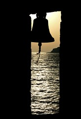 Bell Silhouette (maksid) Tags: sunset sea church silhouette mani greece peloponissos supershot lakonia 25faves mywinners aplusphoto goldenphotographer votedthebest