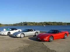 Vettes at Douglas Harbor (redvette) Tags: corvette rivervalleyvettes redvette tomhiltz