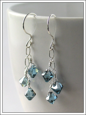 Silver and Swarovski crystal earrings