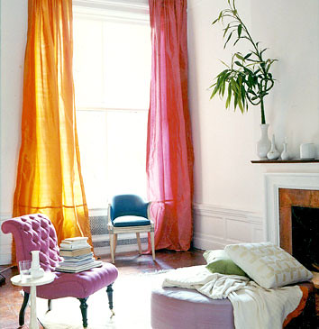 Colorful silk curtains, inspired by Prada palette