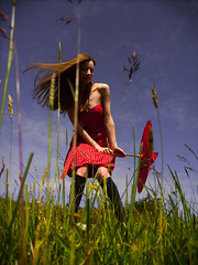 (Laura D McBryde) Tags: blue red summer woman black laura cute green girl beautiful field grass socks female pose hair cool pretty dress angle d chest windy parasol bone brunette knees collar shoulder strapless petite windblown collarbone mcbryde