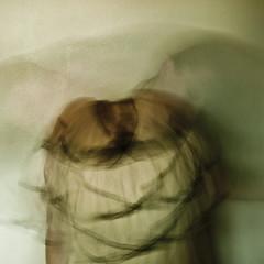 Just a Blur. (evilibby) Tags: longexposure blur girl movement blurred human libby 365 mybedroom swoosh greentint 365days 3653 hairswoosh
