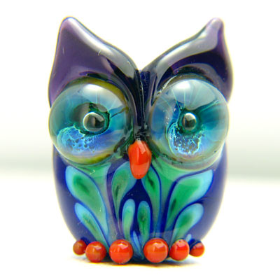 Glass owl bead lampwork by jawjee
