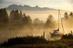 Dike Morning 2 (showbizinbc) Tags: mist misty fog sunrise river bc earlymorning mapleridge dike pittmeadows platinumphoto