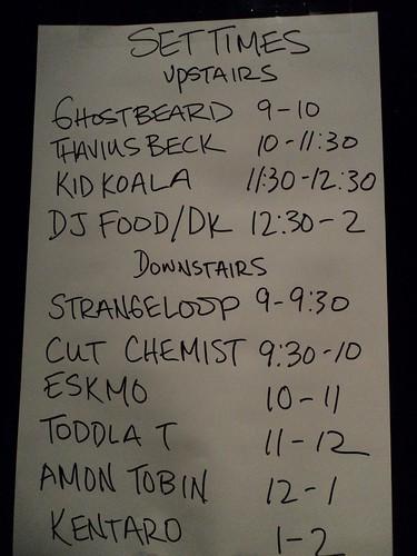 Set Times at Ninja Tune XX - 30/10/10