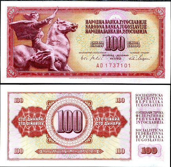100 Dinárov Juhoslávia 1965, P80