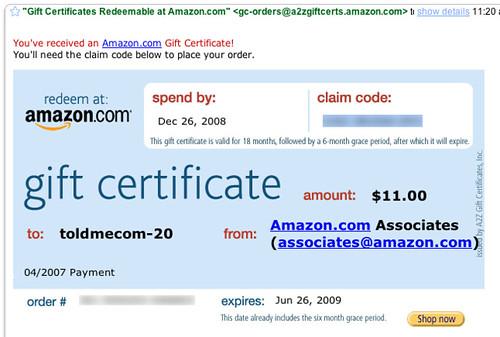 Amazon.com Gift Certificate