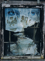Blue Eyes, broken glass (Paulie) Tags: hinge window germany paper eyes peeling brokenglass faded frame weathered shards rettenbach