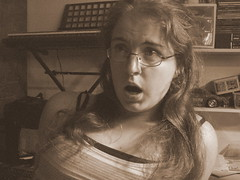 Gasp! (*PaysImaginaire*) Tags: portrait selfportrait silly me girl sepia female self mouth hair nose person glasses eyes long emotion random tripod shock silliness shocked gasp gasping