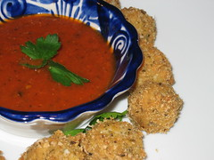 deep fried mozzarella balls and marinara sauce