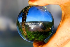 Iguacu waterfalls, Foz do Iguacu  Brazil. Crystal ball (kees straver (will be back online soon friends)) Tags: travel blue trees light brazil macro reflection green fall nature water glass canon ball river landscape waterfall rainbow rocks stream crystal bokeh falls explore sphere refraction crystalball mywinners canoneos5dmarkii keesstraver