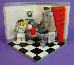 Mr Dawes takes a turn for the worse (DARKspawn) Tags: hospital bed lego fig zombie needle figure dio nurse minifig vignette diorama minifigure vig collectableminifig zombieitis