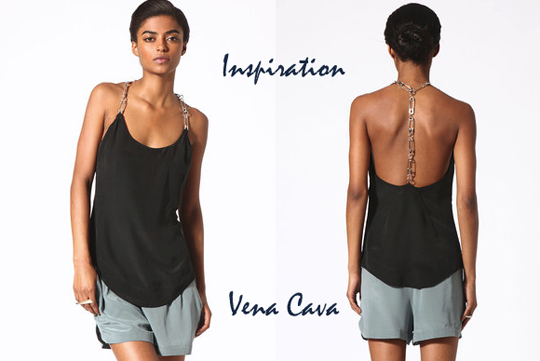 Vena Cava silk safety pin tank top DIY