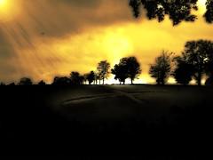 Darkness Falls (Chris A. Campbell) Tags: trees light sunset sky cloud brown green halloween field grass sunshine yellow composite illustration bronze clouds photoshop dark painting death beige october flickr decay farm battle farmland figure lehman farms feed hillside claws deerparkrd lehmanpa repixel paintingpainting