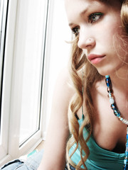 Bored (pinklilyblossom) Tags: blue light green window girl mouth hair necklace eyes curls nosestud fivestars ysplix noseringthefeminine