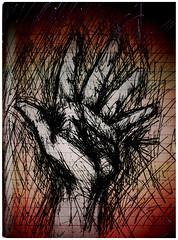 Lectura de mano (Hand two). (YHSH: IDVAAD) Tags: art lines illustration ink dark paper blog blood hand arte trace negative mano draw papel dibujo eco negativo mão tinta sangre nada sangue ilustracion 2007 invert oscuridad líneas trazo idvaad josueorizaga muerteme