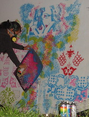 doing the leopard spots (Glenda GlitaGrrl) Tags: pink blue red stencils art vintage graffiti selfportraits australia adventure leopard magical glendapontes