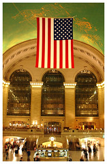 Grand Central (Main Concourse), New York, NY (Grufnik) Tags: new york portrait sky people clock station america train star flag main central stripe grand concourse constellation 2007