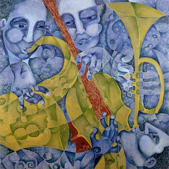 Trio II (Paul N Grech) Tags: blue music art modern painting bass contemporary trumpet jazz blues harmony saxophone oilpainting cubist cubism paulgrech