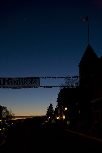 Mountainfilm banner at night
