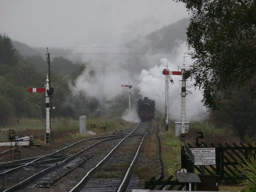 Train arrives at Levisham