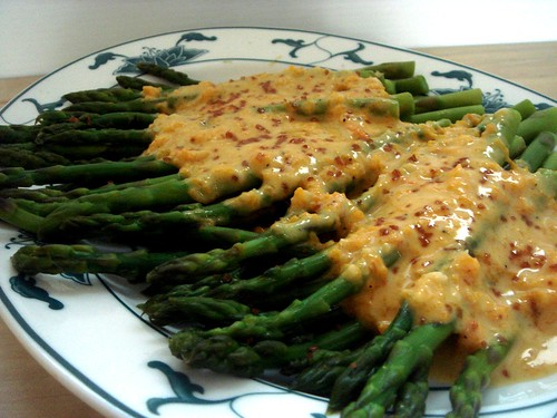 asparagus with butternut squash aioli and red gold sea salt.