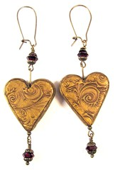 Victorian Christmas Earrings Burnished Gold Hearts with Garnet Swarovski Crystals