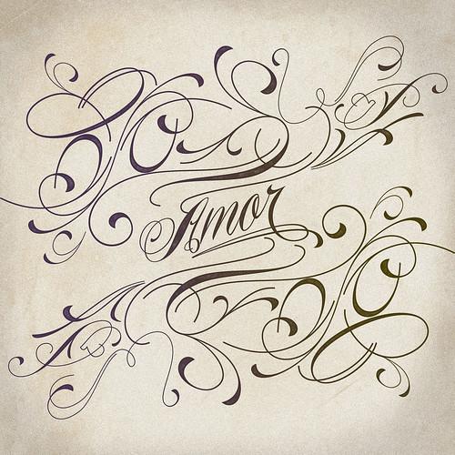 amore tattoo designs. Piel Script - Amor