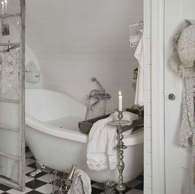 White shabby chic country style romantic bathroom.