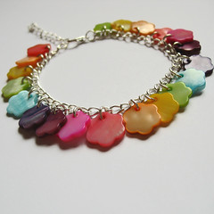 Rainbow Flower bracelet in mother of pearl (Eskimimi) Tags: pink flowers blue red orange flower green yellow rainbow purple blossom blossoms violet indigo jewelry jewellery chain bracelet bead pearl blooms motherofpearl