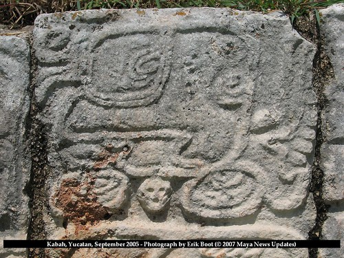 Kabah, Yucatan, Mexico - Glyph spelling K'awil (K'AWIL-wi-la) on Hieroglyphic Platform