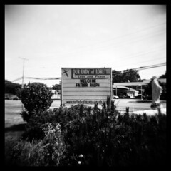Can I Get an 'Amen'? (Ralph Krawczyk Jr) Tags: sky blackandwhite bw 6x6 sign outside focus toycamera lofi squareformat diafine bushes amen speedway priesthood 313 holga120n savemejebus utilitylines redfordmichigan aristaeduultra100 120mediumformat virginmarystatue ralphkrawczykjr fatherralph
