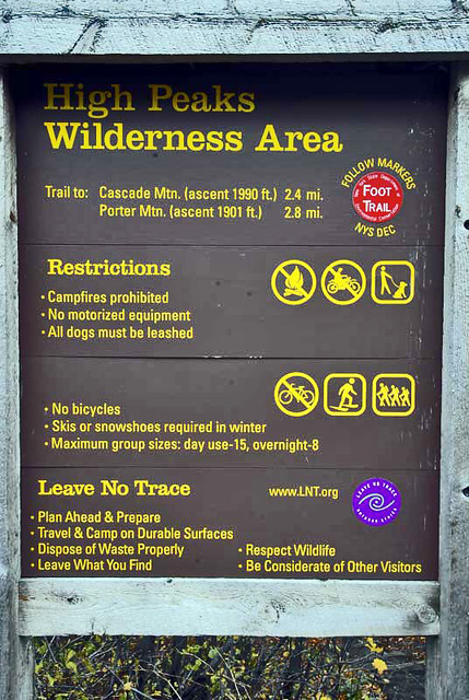 High Peaks Wilderness Area - Trail Head for Cascade Mtn and Porter Mtn