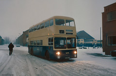 Walsall in the winter of 1981-82 (Lady Wulfrun) Tags: winter urban snow bus buses night lights town 1982 garage transport depart 1981 depot driver about blizzard executive departure daimler walsall fleetline counties norther wintery wmpte birchills