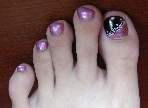 Toe nail polish in Metallic Purple Base Wine Tip Lace toe nail art