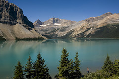 Bow Lake (melmark44) Tags: lake canada nature water reflections landscape outdoors glacier alberta banff emerald banffnationalpark glacial icefieldsparkway bowlake tourquoise cloudlesssky bowglacier rockflour waputikrange melmarkowitz 2007melvinmarkowitz
