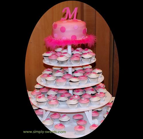 pink M cupcake tree